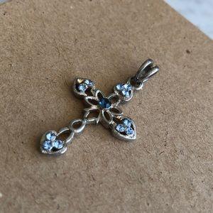 Cross Pendant with Light & Dark Blue Rhinestones